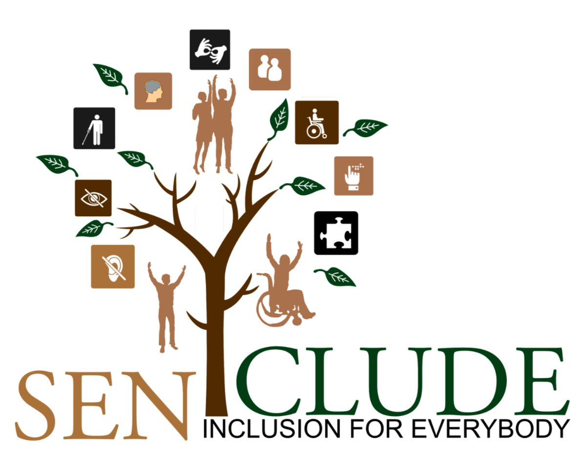 senclude logo containing a tree and disability symbols with a link to the home page